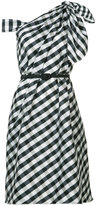 Carolina Herrera plaid taffeta one shoulder dress