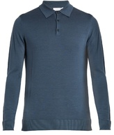 Sunspel Long-sleeved wool polo shirt