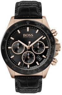 HUGO BOSS Carnation-gold-plated chronograph watch with black sunray dial