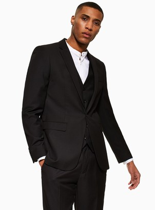 Topman Black Skinny Fit Single Breasted Suit Blazer With Notch Lapels