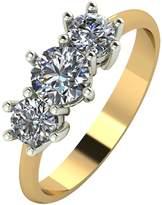 Moissanite 18 Carat Yellow Gold, 1 Carat Trilogy Ring