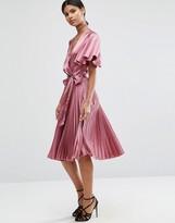 Asos Pleated Wrap Midi Dress in Satin