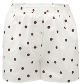 Ganni High-rise Polka-dot Cotton Poplin Shorts - Womens - White Multi