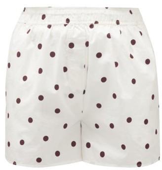 Ganni High-rise Polka-dot Cotton Poplin Shorts - White Multi