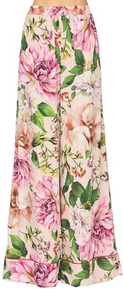 Dolce & Gabbana Printed Wide Leg Silk Charmeuse Pants