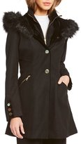 Preston & York Faux Fur Trimmed Hood Fit-and-Flare Wool Coat