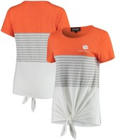Unbranded Clemson Tigers Why Knot Colorblocked Striped Knotted T-Shirt - Orange