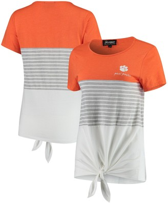 Clemson Tigers Why Knot Colorblocked Striped Knotted T-Shirt - Orange