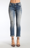 Mavi Jeans Emma Slim Boyfriend In Mid Ripped Patch Vintage