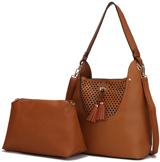 MKF Collection by Mia K. Women's Hobos Brown - Brown Perforated Tassel Convertible Hobo