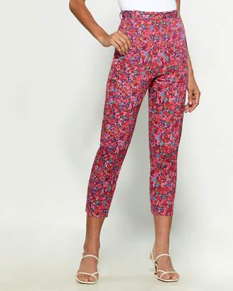 Hache Floral Print Cropped Pants