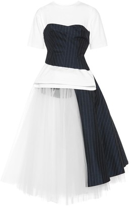Junya Watanabe Cotton and tulle midi dress