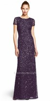 Adrianna Papell Sequin Embellished Sweep Train Evening Dress