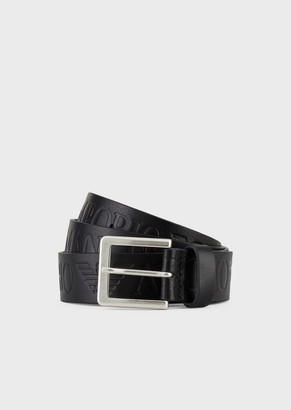 Emporio Armani Textured Leather Belt With Logo