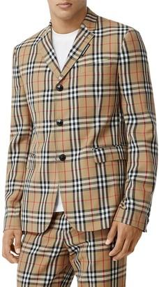 Burberry Check Wool & Mohair Blazer