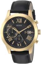 GUESS GUESS? Men's Quartz Stainless Steel and Leather Casual Watch, Color:Black (Model: U0669G4)