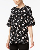 Alfani PRIMA Floral-Print Flutter-Sleeve Top, Only at Macy's