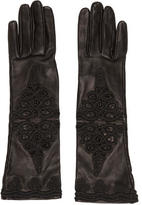 Prada Leather Embroidered Gloves