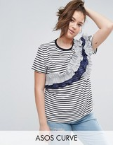 Asos Top with Stripe Frill Panels