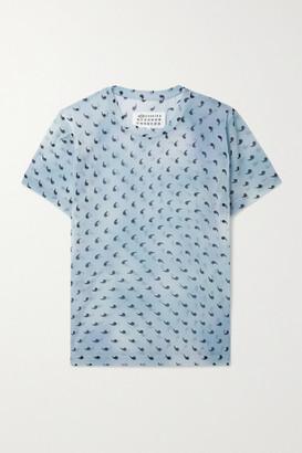 Maison Margiela Printed Stretch-silk Chiffon T-shirt - Sky blue