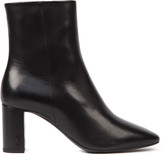 Saint Laurent Lou Black Smooth Leather Ankle Boots