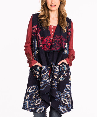 Paparazzi Women's Sweater Vests NAVY - Navy & Red Floral Embroidered Front-Pocket Vest - Women