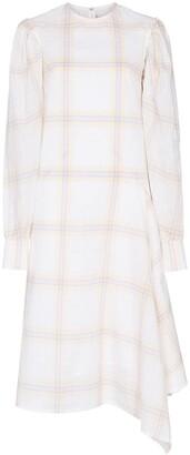 Calvin Klein Check Print Silk Midi Dress