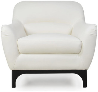 Moroni Wollo Full Leather Mid-Century Chair, DoradoPure White