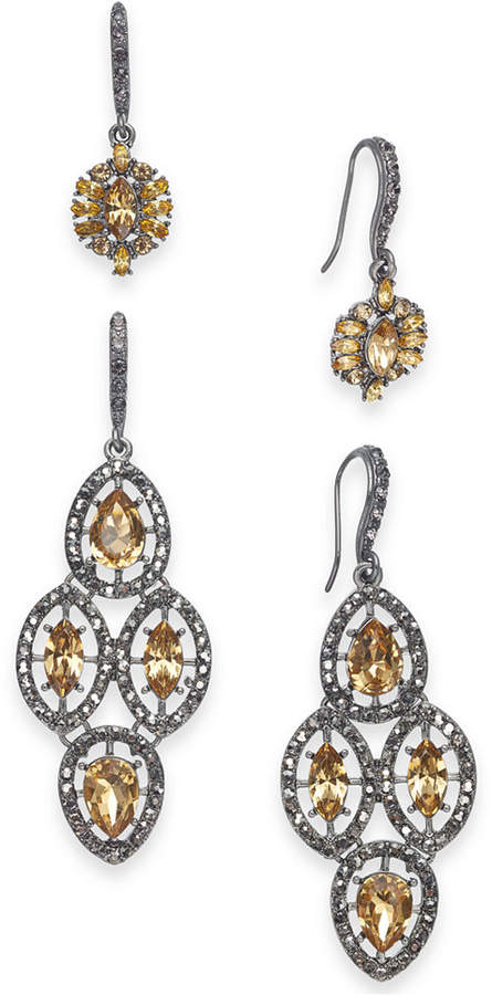 INC International Concepts I.N.C. Day & Night Hematite-Tone 2-Pc. Box Set Vintage-Inspired Drop Earrings, Created for Macy's