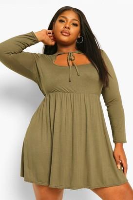 boohoo Plus long sleeve cut out smock dress