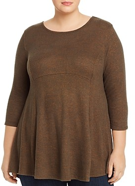 B Collection by Bobeau Curvy Brushed High/Low Tunic Top