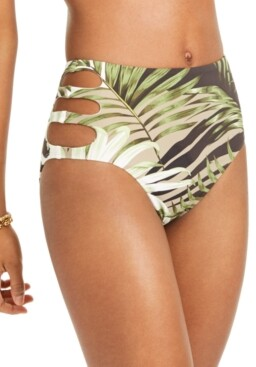Bar III Jungle Moon Printed Cutout High-Waist Bikini Bottoms, Created for Macy's Women's Swimsuit