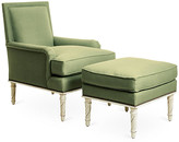 Bunny Williams Home Azure Accent Chair & Ottoman Set - Green