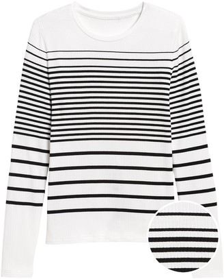 Banana Republic Stripe Ribbed Crew-Neck T-Shirt