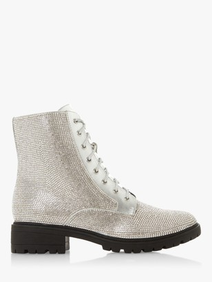 Dune Paragon Lace Up Embellished Boots, Silver