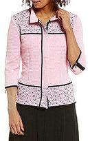 Ming Wang Mandarin Collar 3/4 Sleeve Jacket
