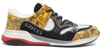 Gucci Ultrapace Croc-effect Leather And Suede Trainers - Mens - Yellow
