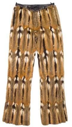 Gucci 2000 Leather-Trimmed Fur Pants