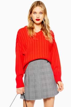Topshop High V-Neck Sweater