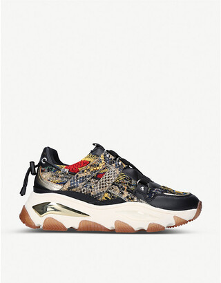 Kurt Geiger London Lettie studded leather and mesh trainers