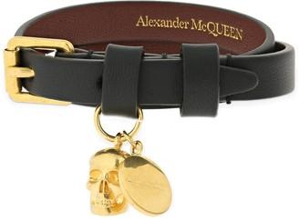 Alexander McQueen Double Wrap Leather Bracelet W/ Skull
