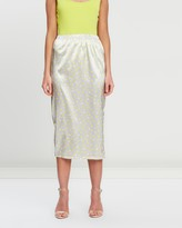 Missguided Neon Polka Dot Midi Skirt