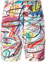 Jeremy Scott scribbled shorts - women - Cotton/Other fibres - 42