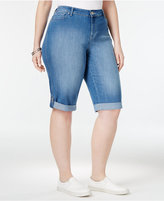 Style&Co. Style & Co Plus Size Curvy Black Wash Denim Skimmer Shorts, Only at Macy's