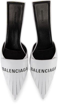 Balenciaga Logo Fringe Knife Kitten Heel Mules in White & Black | FWRD