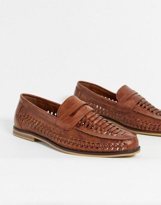 Topman woven loafers in tan