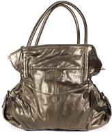 Junior Drake Gold Metallic Leather Gathered Detail Zip Top Tote Handbag