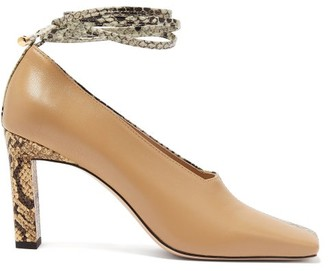 Wandler Isa Two-tone Square-toe Leather Pumps - Womens - Beige Multi