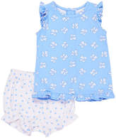Florence Eiseman Bow-Print Ruffle-Sleeve Top w/ Polka-Dot Bloomers, Size 3-24 Months
