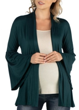24Seven Comfort Apparel Long Flared Sleeve Open Front Maternity Cardigan